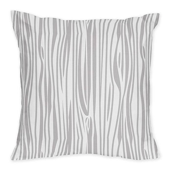 Alternate image 1 for Sweet Jojo Designs Stag Wood Grain Print Throw Pillow in Grey/White
