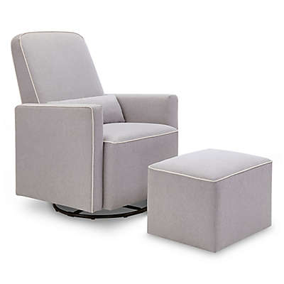DaVinci Olive Upholstered Swivel Glider and Ottoman in Grey with Cream Piping