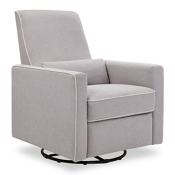 Alternate image 1 for DaVinci Piper All-Purpose Upholstered Glider Recliner in Grey with Cream Piping