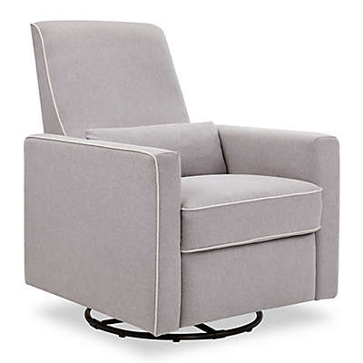 DaVinci Piper All-Purpose Upholstered Glider Recliner in Grey with Cream Piping