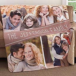 Family Photo Collage Premium Sherpa Throw Blanket