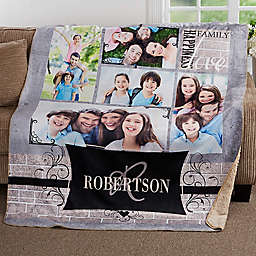Family Photo Memories Premium Sherpa Throw Blanket