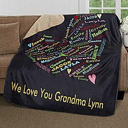 Her Heart Of Love 60-Inch x 80-Inch Premium Sherpa Throw Blanket