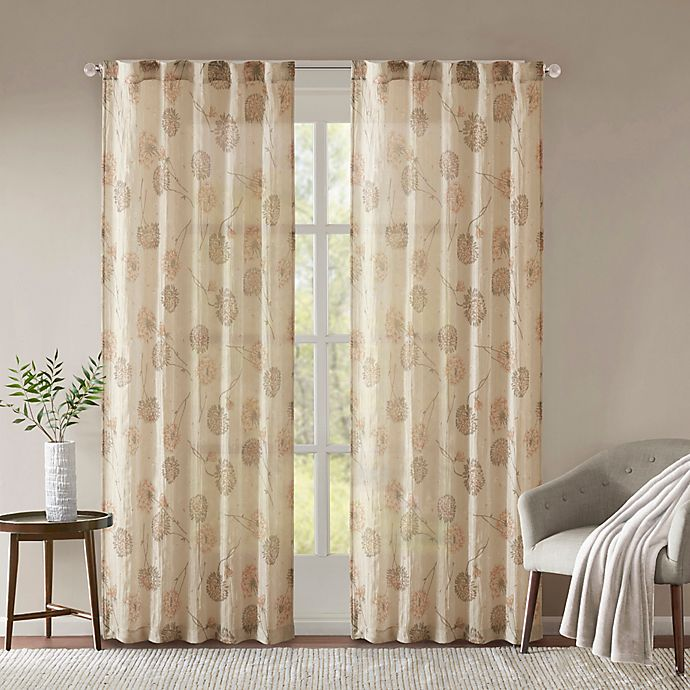 Alternate image 1 for Madison Park Arella Printed Crushed 108-Inch Rod Pocket/Back Tabs Window Curtain Panel Pair in Taupe