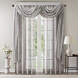 Madison Park Irina Diamond Sheer Window Curtain Panel and Valance