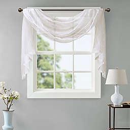 Madison Park Irina Diamond Sheer 144-Inch Window Scarf Valance in White