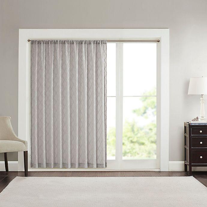 Alternate image 1 for Madison Park Irina Diamond Sheer 84-Inch Rod Pocket Window Curtain Panel in Grey