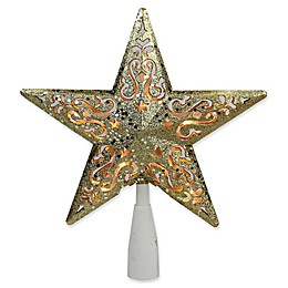Northlight 8.5-Inch Glitter Star Tree Topper with Clear Lights