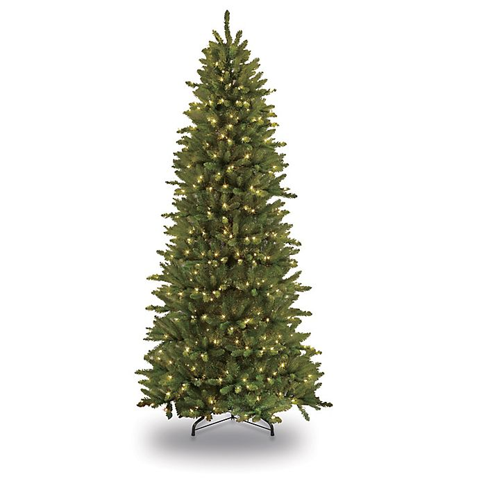 Alternate image 1 for Puleo International 9-Foot Slim Fir Pre-Lit Christmas Tree with Clear Lights