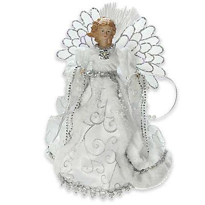 Northlight 13-Inch Fiberoptic Angel Tree Topper in White/Silver