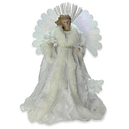Northlight 13-Inch Fiberoptic Angel Tree Topper in White