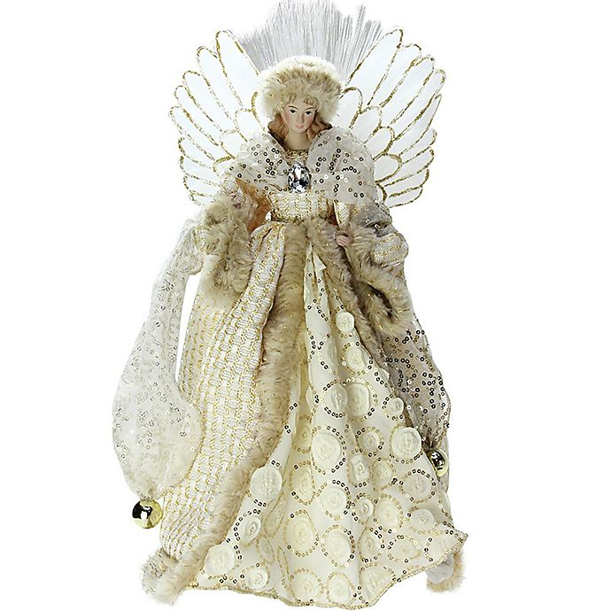 14-Inch Angel Christmas Tree Topper In White