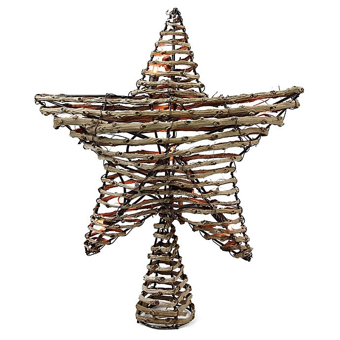 Alternate image 1 for Rattan 11.5-Inch 10-Light Star Christmas Tree Topper in Brown
