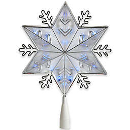 Snowflake 10-Inch 20-Light Star Christmas Tree Topper in Silver
