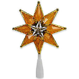 Jewel Accented 8-Inch 10-Light Star Christmas Tree Topper in Orange