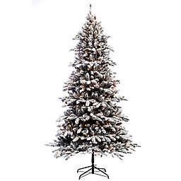 Puleo International 7.5-Foot Flocked Pre-Lit Bennington Fir Christmas Tree with Clear Lights