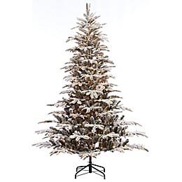 Puleo International 7.5-Foot Flocked Pre-Lit Aspen Fir Christmas Tree with Clear Lights
