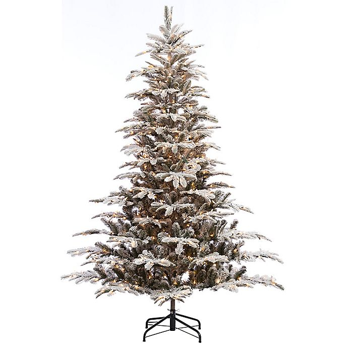 Alternate image 1 for Puleo International 7.5-Foot Flocked Pre-Lit Aspen Fir Christmas Tree with Clear Lights
