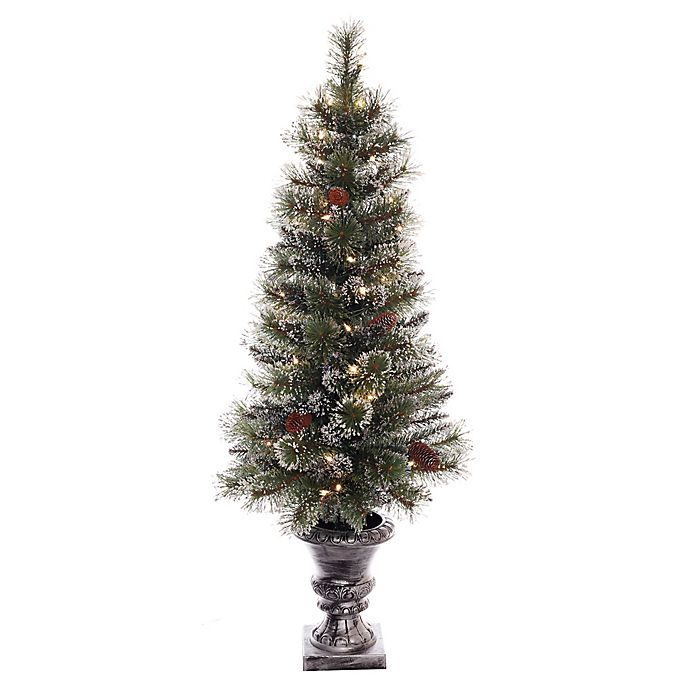 Alternate image 1 for Puleo International 4-Foot Pre-Lit Glittery Potted Tree with Clear Lights