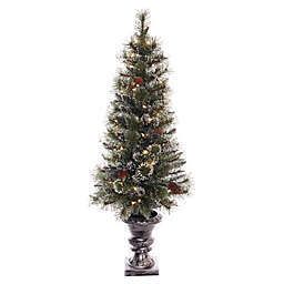 Puleo International 4-Foot Pre-Lit Glittery Potted Tree with Clear Lights