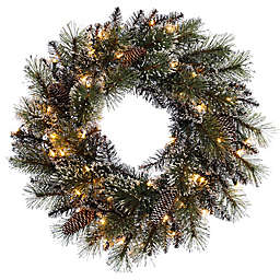 Puleo International 24-Inch Pre-Lit Decorated Wreath with Clear Lights