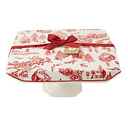 Mud Pie® Christmas Toile Ceramic Cake Stand in White