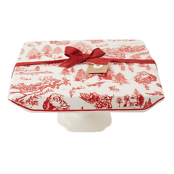 Alternate image 1 for Mud Pie® Christmas Toile Ceramic Cake Stand in White