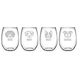 Susquehanna Glass Dog Face Stemless Wine Glasses (Set of 4)