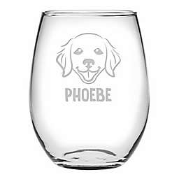 Susquehanna Glass Golden Retriever Face Stemless Wine Glasses (Set of 4)