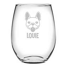 Susquehanna Glass French Bulldog Face Stemless Wine Glasses (Set of 4)