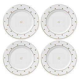 kate spade new york Larabee Road™ Gold Monogrammed Letter Tidbit Plates (Set of 4)