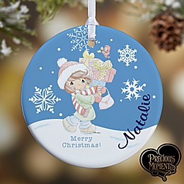 This Precious Moments® Personalized Shopaholic Christmas Ornament