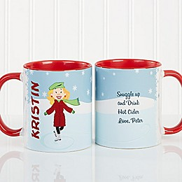 Ice Skating Character 11 oz. Coffee Mug in Red