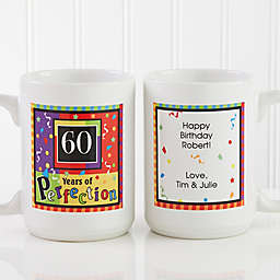 Aged to Perfection Birthday 15 oz. Personalized Coffee Mug in White