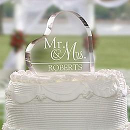 Wedded Pair Heart Cake Topper