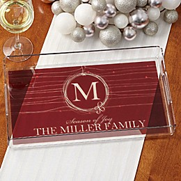 Holiday Wreath Personalized Acrylic Serving Tray