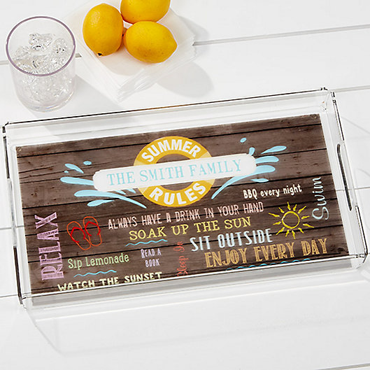 Alternate image 1 for Summer Rules Personalized Acrylic Serving Tray