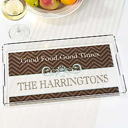 Classic Chevron Personalized Acrylic Serving Tray