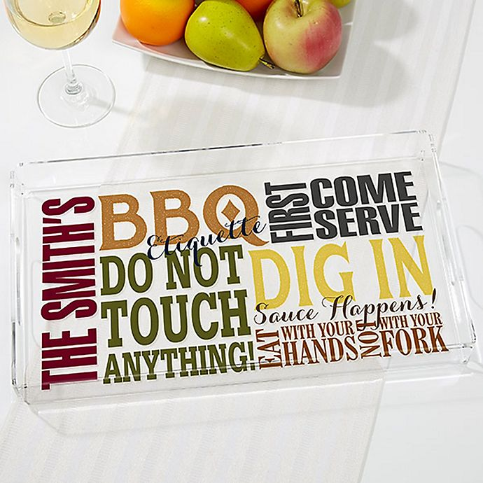 Alternate image 1 for BBQ Rules Personalized Acrylic Serving Tray