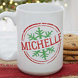 Stamped Snowflake 15 oz. Coffee Mug in White