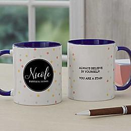 Name Meaning Geometric 11 oz. Coffee Mug in Blue