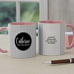 Name Meaning Geometric 11 oz. Coffee Mug in Pink
