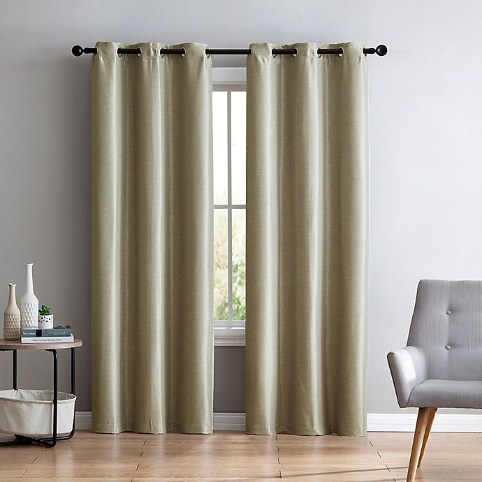 52f1a39898ea VCNY Home Arlenis Faux Silk Grommet Top Room Darkening Window Curtain Panel  Pair