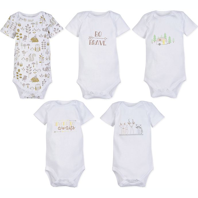Alternate image 1 for MiracleWear Newborn 5-Pack Basic Bodysuits in White