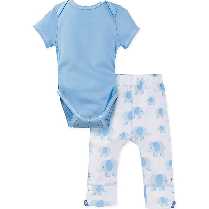 Alternate image 1 for MiracleWear® Size 12-18M 2-Piece Posheez Snap 'n Grow Elephant Bodysuit and Pant Set in Blue