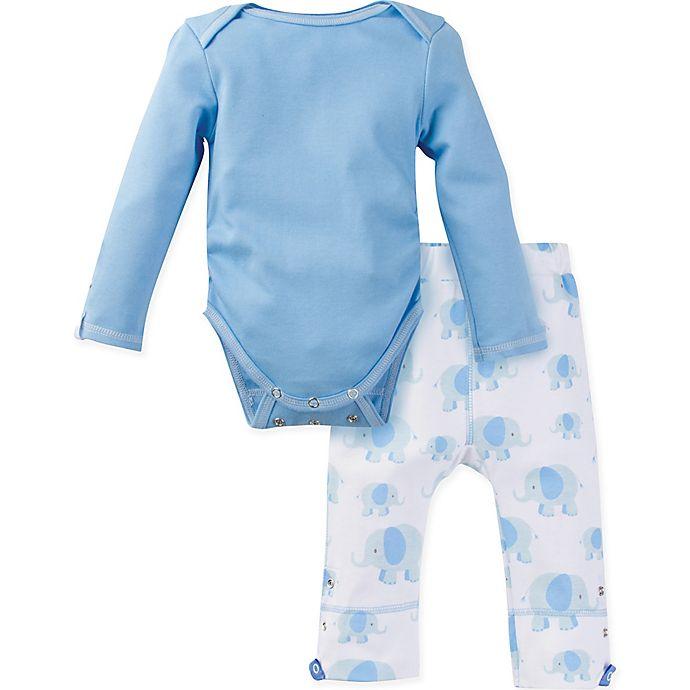 Alternate image 1 for MiracleWear® 2-Piece Posheez Snap 'n Grow Elephant Long Sleeve Bodysuit and Pant Set in Blue