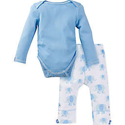 MiracleWear® 2-Piece Posheez Snap 'n Grow Elephant Long Sleeve Bodysuit and Pant Set in Blue