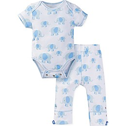MiracleWear® 2-Piece Posheez Snap 'n Grow Elephant Short Sleeve Bodysuit and Pant Set in Blue