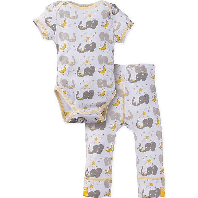 Alternate image 1 for MiracleWear® Size 18-24M 2-Piece Posheez Snap 'n Grow Elephant Short Sleeve Bodysuit Set in Grey