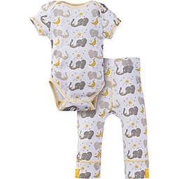 MiracleWear® 2-Piece Posheez Snap 'n Grow Elephant Short Sleeve Bodysuit Set in Grey